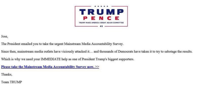 Donald Trump Sabotage survey